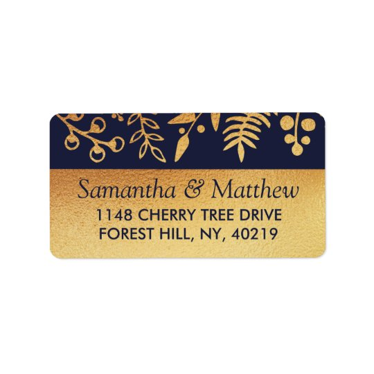 The Elegant Navy & Gold Floral Wedding Collection Label
