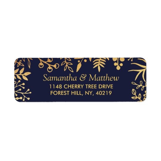 The Elegant Navy & Gold Floral Wedding Collection Return Address Label