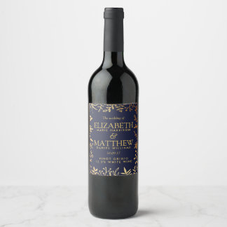 The Elegant Navy & Gold Floral Wedding Collection Wine Label