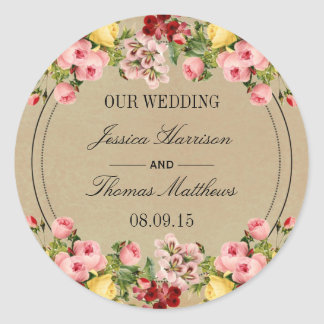 The Elegant Vintage Floral Wedding Collection Round Sticker