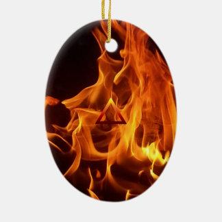 The Element Fire Symbol Ceramic Oval Decoration