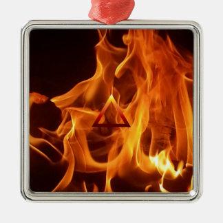 The Element Fire Symbol Silver-Colored Square Decoration
