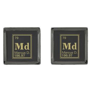 Gold periodic table gifts gift ideas zazzle uk custom name gold periodic gunmetal finish cuff links urtaz Gallery