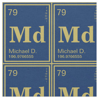 The Element of You! Customized Gold Periodic Navy Fabric