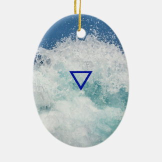 The Element Water Symbol Ceramic Oval Decoration