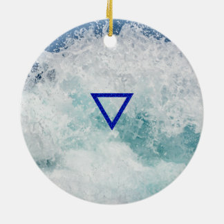 The Element Water Symbol Double-Sided Ceramic Round Christmas Ornament