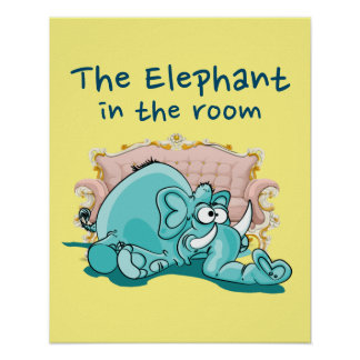 The Elephant In The Room Cartoon Poster