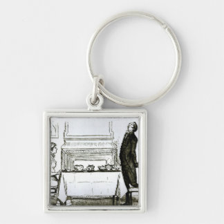 The Elevation of His Feelings' Silver-Colored Square Key Ring