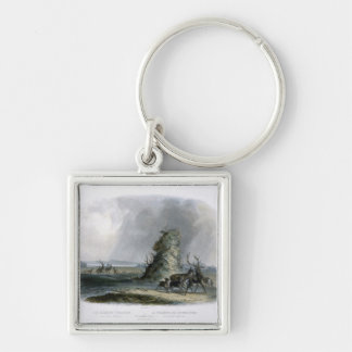 The Elkhorn Pyramid on the Upper Missouri, plate 2 Silver-Colored Square Key Ring
