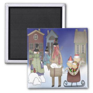 The Elves Visit Snowman Town Square Magnet