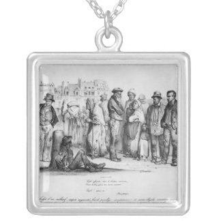 The Emancipated People, from 'La Caricature' Silver Plated Necklace