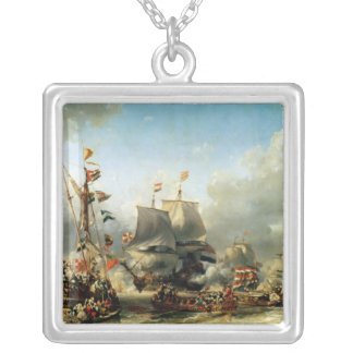 The Embarkation of Ruyter and William de Witt Silver Plated Necklace