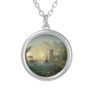 The Embarkation of the Queen of Sheba by Claude Round Pendant Necklace