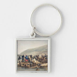 The Embarkation of the Sick at Balaklava Silver-Colored Square Key Ring