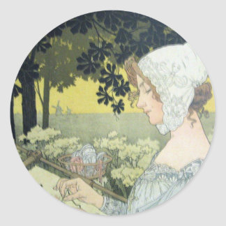 THE EMBROIDERER  LA BRODEUSE CLASSIC ROUND STICKER