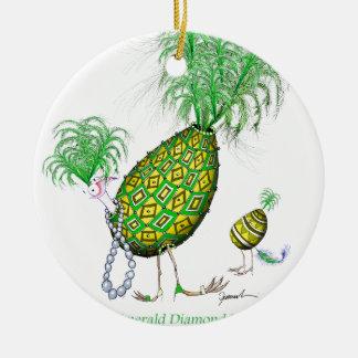 The Emerald Diamond Fab Egg, tony fernandes Round Ceramic Decoration