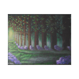 The emerald forest/Green pathway Stretched Canvas Print
