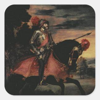 The Emperor Charles V  on Horseback Square Sticker