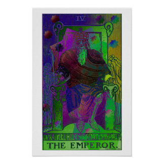 The Emperor Tarot Card Psychedelic Poster