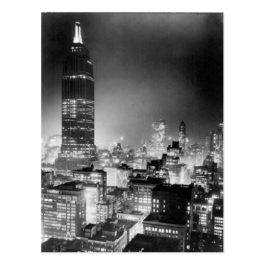The Empire State Building At Night Post Card, 1937 Postcard
