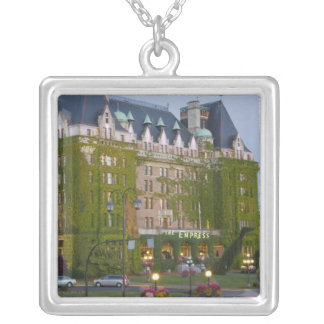 The Empress Hotel at the inner harbour in Square Pendant Necklace