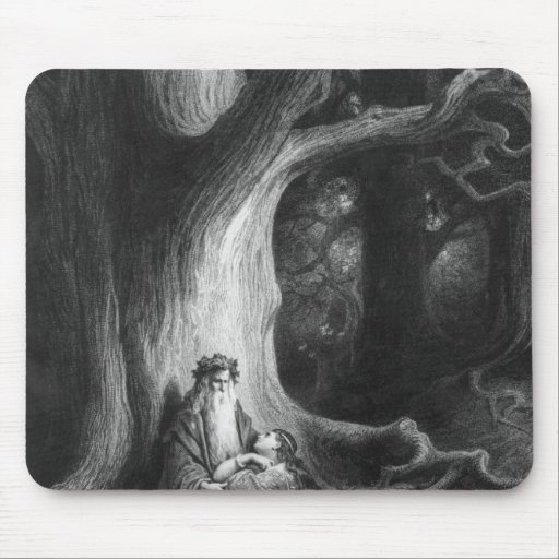 The Enchanter Merlin and the Fairy Vivien Mousepads