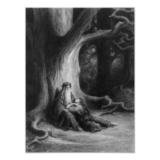 The Enchanter Merlin and the Fairy Vivien Print