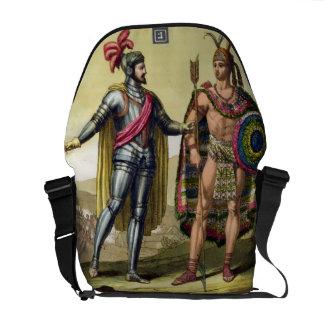 The Encounter between Hernando Cortes (1485-1547) Messenger Bags