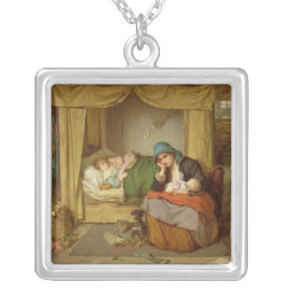 The end of a happy day square pendant necklace