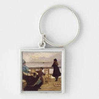 The End of October Silver-Colored Square Key Ring