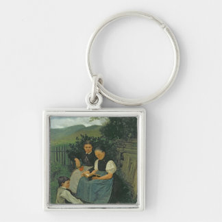 The End of the Day, 1868 Silver-Colored Square Key Ring