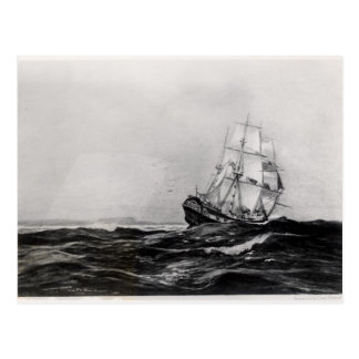 The Endeavour at Sea, 1900, engraved by Lowy Postcard