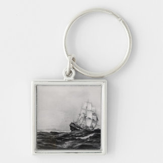 The Endeavour at Sea, 1900, engraved by Lowy Silver-Colored Square Key Ring