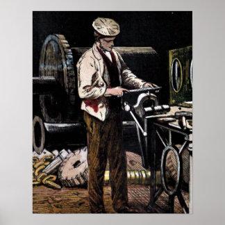 """ The Engineer"" Vintage Illustration Poster"