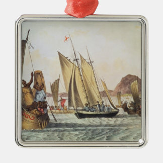 The English being welcomed ashore in South Seas Christmas Ornament
