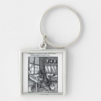 The Engraver, published by Hartman Schopper Silver-Colored Square Key Ring