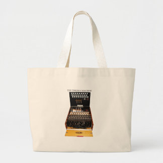 The enigma machine, vintage military messaging large tote bag