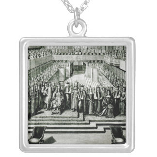 The Enthroning of King James II and Queen Mary Silver Plated Necklace