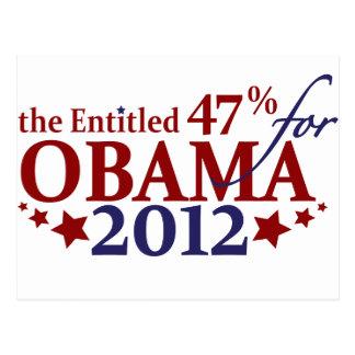 The Entitled 47% for Obama 2012 Postcard