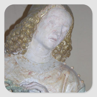 The Entombment, detail of a saint holding the crow Square Sticker