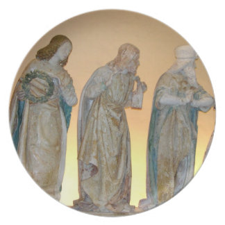 The Entombment, detail of saints, 1490 (painted st Dinner Plate