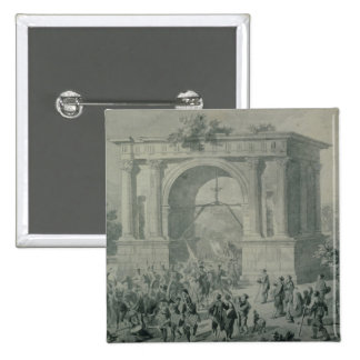 The entrance of French troops to A'Osta 15 Cm Square Badge