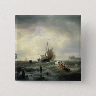 The Entrance to the Harbour at Hellevoetsluys 15 Cm Square Badge