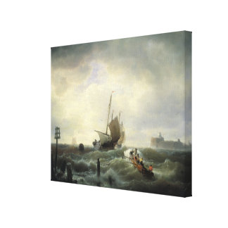 The Entrance to the Harbour at Hellevoetsluys Canvas Print
