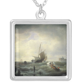 The Entrance to the Harbour at Hellevoetsluys Silver Plated Necklace