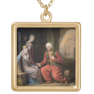 The Entreaty, 1822 (oil on canvas) Square Pendant Necklace