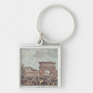 The Entry of the French into Milan Silver-Colored Square Key Ring