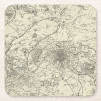 The Environs Of Paris Square Paper Coaster