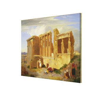 The Erechtheum, Athens, with Figures in the Foregr Canvas Print