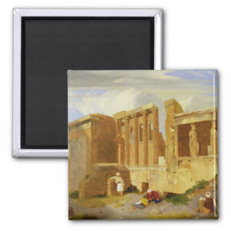 The Erechtheum, Athens, with Figures in the Foregr Fridge Magnet